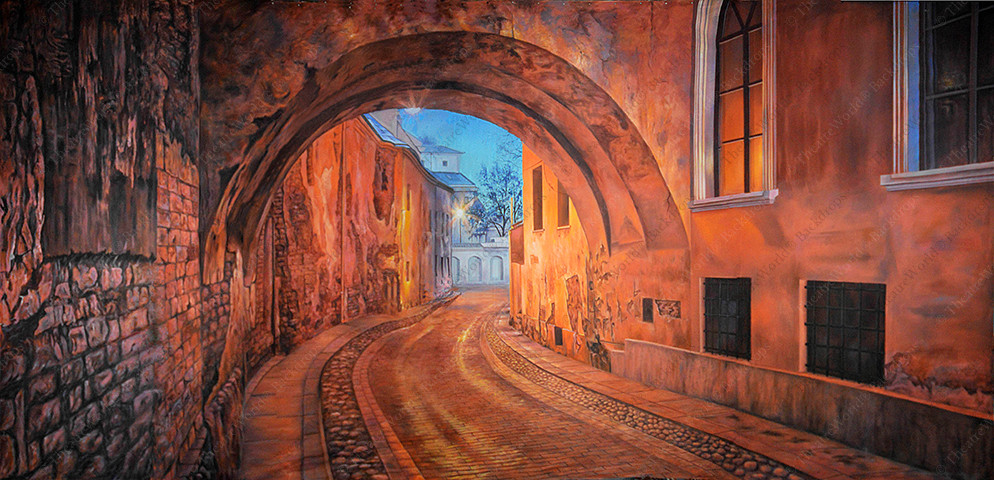 European Street with Arch