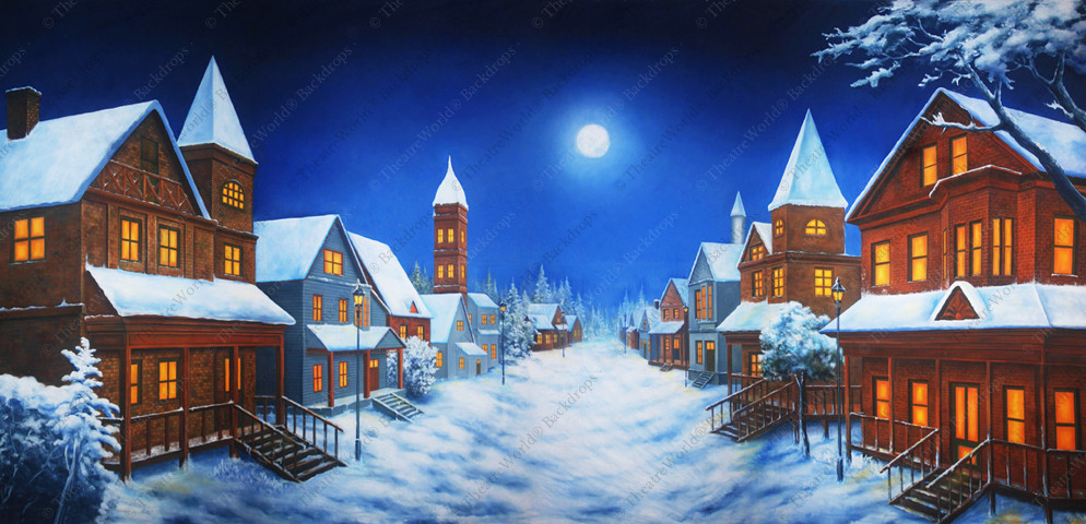 Nighttime Winter Village