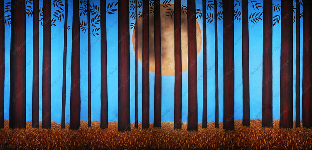 Stylized Woods With Harvest Moon