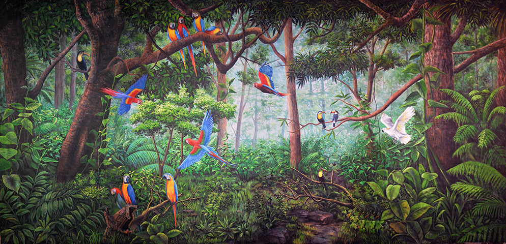 Tropical Forest With Birds