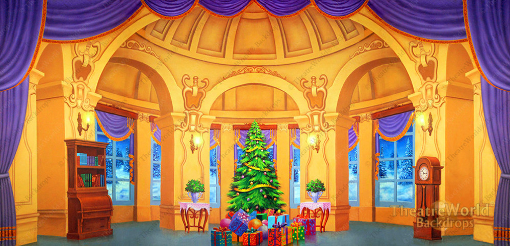 Victorian Christmas Mansion Parlor Scenic Stage Backdrop
