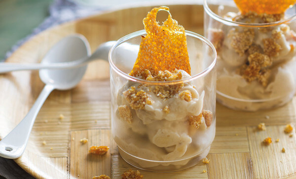 Whip up a batch of instant banana ice-cream with sesame praline