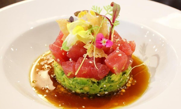 Tuna tartare with sesame, soy, avocado & parmesan crisp