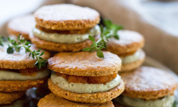 Treat your tastebuds to oat biscuits with soft blue cheese and carrot and orange jam