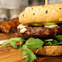 Apple, lamb and blue cheese burger