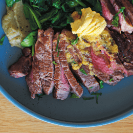 Feed your inner carnivore scotch fillet with eggplant puree and miso butter