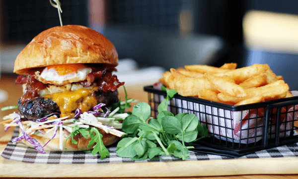 The Stanley Stacker – Cape Grim beef, smoked bacon, egg, double red cheddar, pineapple, slaw and smoke BBQ relish
