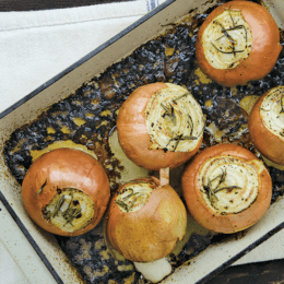 Warm your bones with beef tallow-roasted onions with fresh rosemary