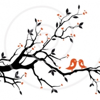 Kissing Birds on Love Tree