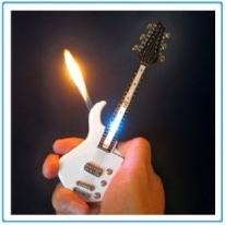 Mini White Guitar LED Light Refillable Cigar Cigarette Lighter