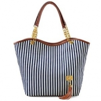 New Fashion Stripe Design Women Street Snap Candid Tote Single Shoulder Canvas Bag Handbag
