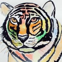 Original Painting Modern Tiger In Watercolor Painting