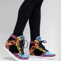 Y.R.U. Clutch Animal Print Hidden Wedge Sneaker - Neon Hidden Wedge Sneakers
