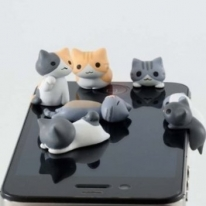 6pcs Cheese Cat 3.5mm Anti Dust Earphone Jack Plug Stopper Cap for Iphone