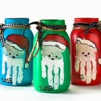 Christmas Santa Jars with your child's handprint!