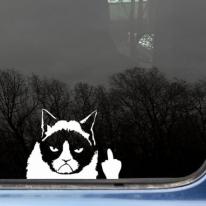 Funny Grumpy Cat Finger Car Sticker