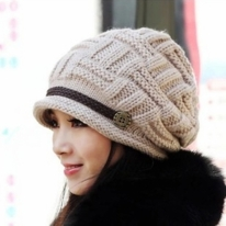 Lady Warm Snow Hat Winter Beanie Crochet Cap
