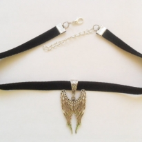 Black velvet ribbon adjustable choker with Large ANGEL WINGS Pendant   and a width of 3/8""
