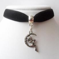 Black velvet ribbon adjustable choker with moon fairy pendant