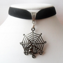Black velvet ribbon adjustable choker with spider web pendant and a width of 1/2""