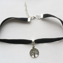 Black velvet ribbon adjustable choker with tree pendant and a width of 3/8""