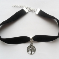 Black velvet ribbon adjustable choker with tree pendant and a width of 5/8""