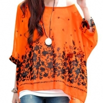 Lady Batwing Sleeve Round Neck Flower Design Semi Sheer Top