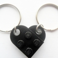 LEGO friendship, girlfriend, boyfriend,best friends Heart keychain set Black