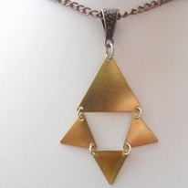 Triangle brass necklace with antique copper tone curb chain