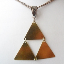 Triforce triangle brass necklace with antique copper tone curb chain