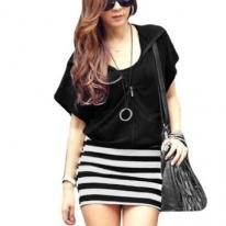 Women Zipper Short Sleeve Mini Dress