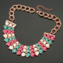 3 Row Colorized Resin Beads White Crystal Bib Necklace