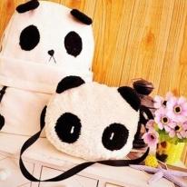 Fashion Backpacks of Panda Shape One Backpack with a Cute Shoulder Bag