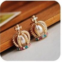 Pearl Cross Diamond Rhinestone Crown Earings