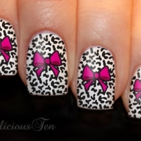 Pink Bow with Animal Print Background Nail Decal
