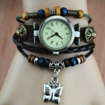 Unique Handmade Leather Belt Watch with Butterfly Pendant