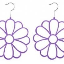 Velvet Scarf Hanger, Purple Flowers Earrings