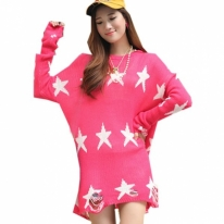 Women's Oversized Star Pattern Loose Knitted Sweater Pink