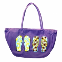 Flip Flop Printed Canvas Beach Bag Tote with Zipper Closure