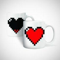 Pixel Heart Heat Changing Morphing Mug