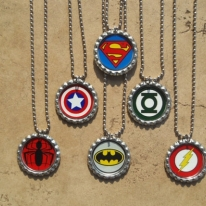 Set of 6 Super Hero Bottle Cap Necklaces