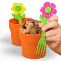 Baking Pots with Flower Fork