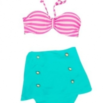 Vintage Bandeau High Waisted Bikini Swimsuits