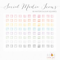 88 Watercolour social media icons