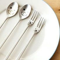 Adorable Face Lip Smackin' Good Spoon & Fork Utensils