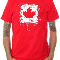 Canada Flag T-Shirt - Distressed Red Maple Leaf