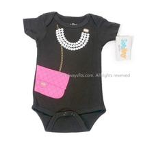 Chic Designer Bag & Pearls Baby Bodysuit