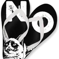 Click for Full Size Image of Grumpy Cat Flip Flops - Grumpy Face