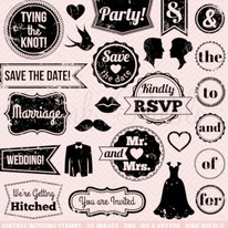 Vintage Wedding Stamps Clipart and Vectors