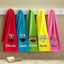 Personalized Sesame Street Bath Towels for Kids